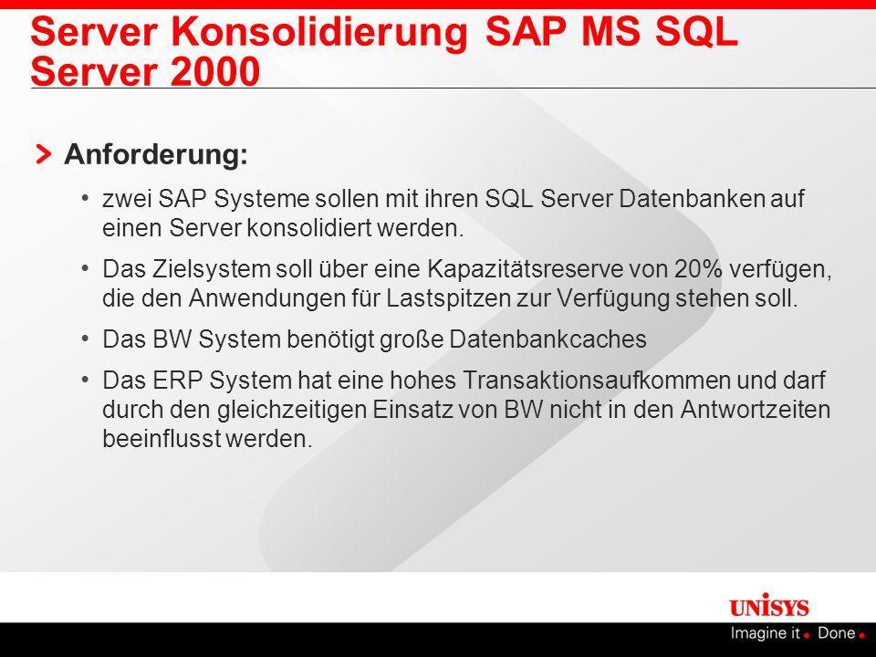 Server Konsolidierung SAP MS SQL Server 2000 Anforderung: zwei SAP Systeme sollen mit ihren SQL Server Datenbanken auf einen Server konsolidiert werde