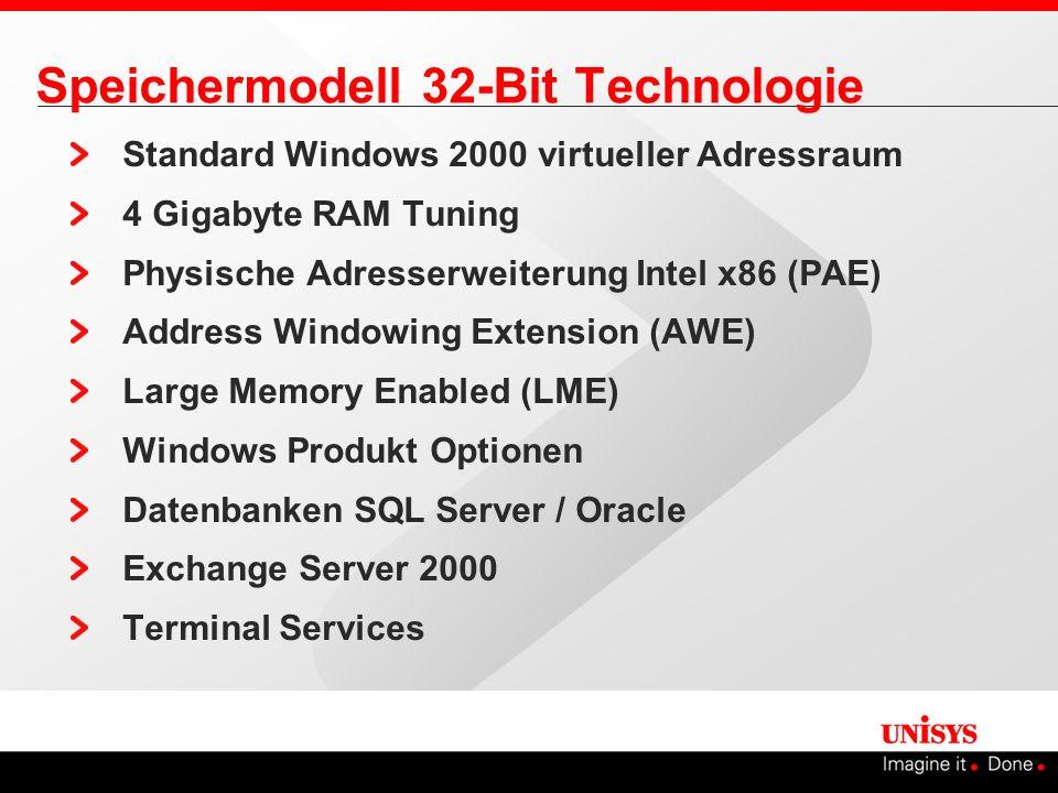 SQL Server 2000 Speicherverwaltung SQL Server unterstützt bis zu 64 GB Anmerkung bei Benutzung von mehr als 4 GB Dynamische Speicherverwaltung nicht mehr möglich Aktivierung AWE mittels sp_configure oder SQL Server 2000 Enterprise Manager Exec sp_configure awe enabled,1 4GB16 GB64 GB PAE Y 3GB -- AWE Y PAE Y 3GB N AWE Y PAE N 3GB -- AWE -- W2K W2K3 32 GB