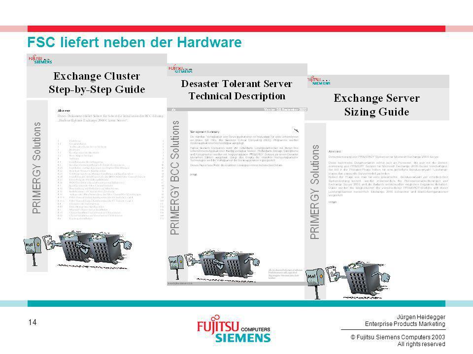 14 © Fujitsu Siemens Computers 2003 All rights reserved Jürgen Heidegger Enterprise Products Marketing FSC liefert neben der Hardware