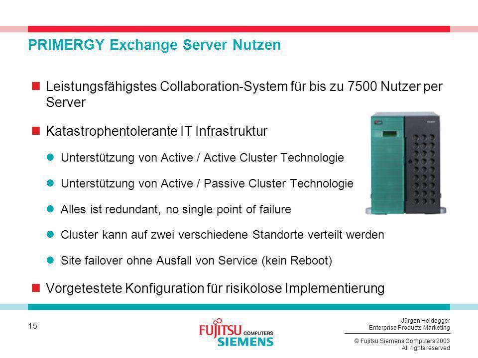 15 © Fujitsu Siemens Computers 2003 All rights reserved Jürgen Heidegger Enterprise Products Marketing PRIMERGY Exchange Server Nutzen Leistungsfähigs