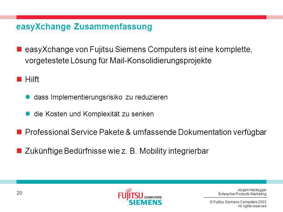20 © Fujitsu Siemens Computers 2003 All rights reserved Jürgen Heidegger Enterprise Products Marketing easyXchange Zusammenfassung easyXchange von Fuj