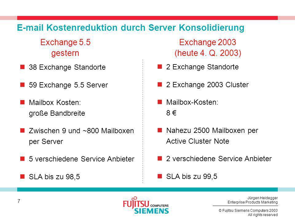 7 © Fujitsu Siemens Computers 2003 All rights reserved Jürgen Heidegger Enterprise Products Marketing E-mail Kostenreduktion durch Server Konsolidieru