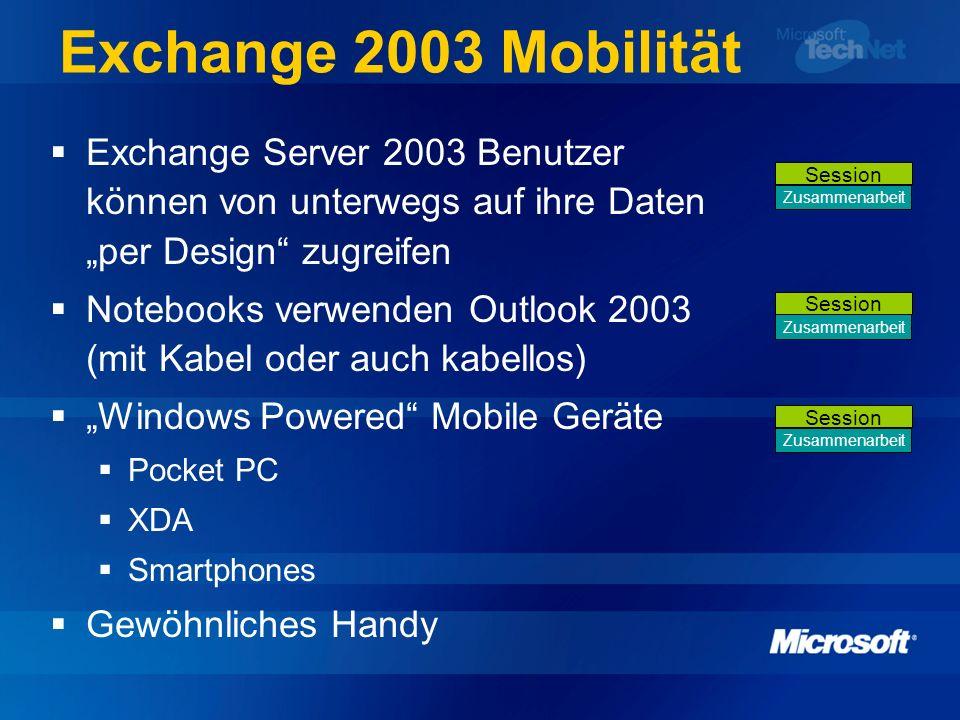 Exchange 2003 Mobilität Exchange Server 2003 Benutzer können von unterwegs auf ihre Daten per Design zugreifen Notebooks verwenden Outlook 2003 (mit K