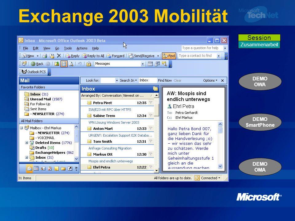 Exchange 2003 Mobilität DEMO OWA DEMO SmartPhone DEMO OMA Zusammenarbeit Session