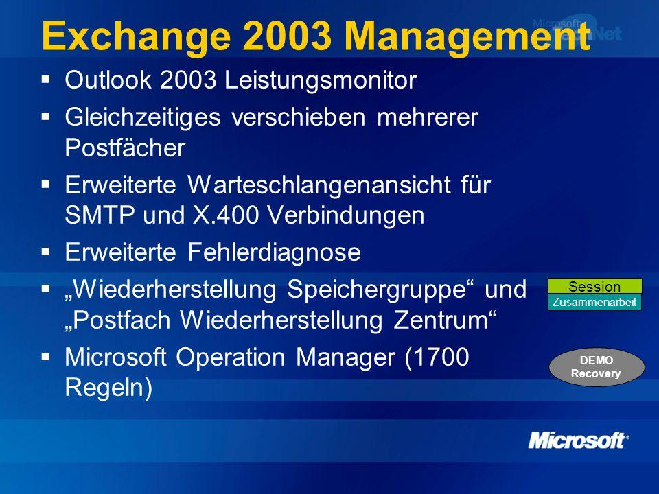 Exchange 2003 Management Outlook 2003 Leistungsmonitor Gleichzeitiges verschieben mehrerer Postfächer Erweiterte Warteschlangenansicht für SMTP und X.