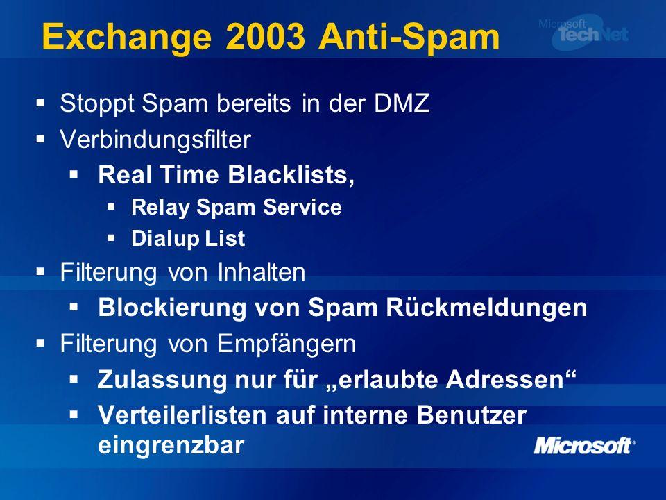 Exchange 2003 Anti-Spam Stoppt Spam bereits in der DMZ Verbindungsfilter Real Time Blacklists, Relay Spam Service Dialup List Filterung von Inhalten B