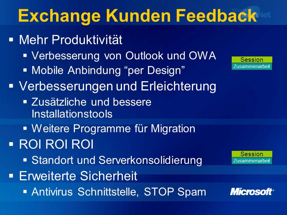 Exchange Kunden Feedback Mehr Produktivität Verbesserung von Outlook und OWA Mobile Anbindung per Design Verbesserungen und Erleichterung Zusätzliche
