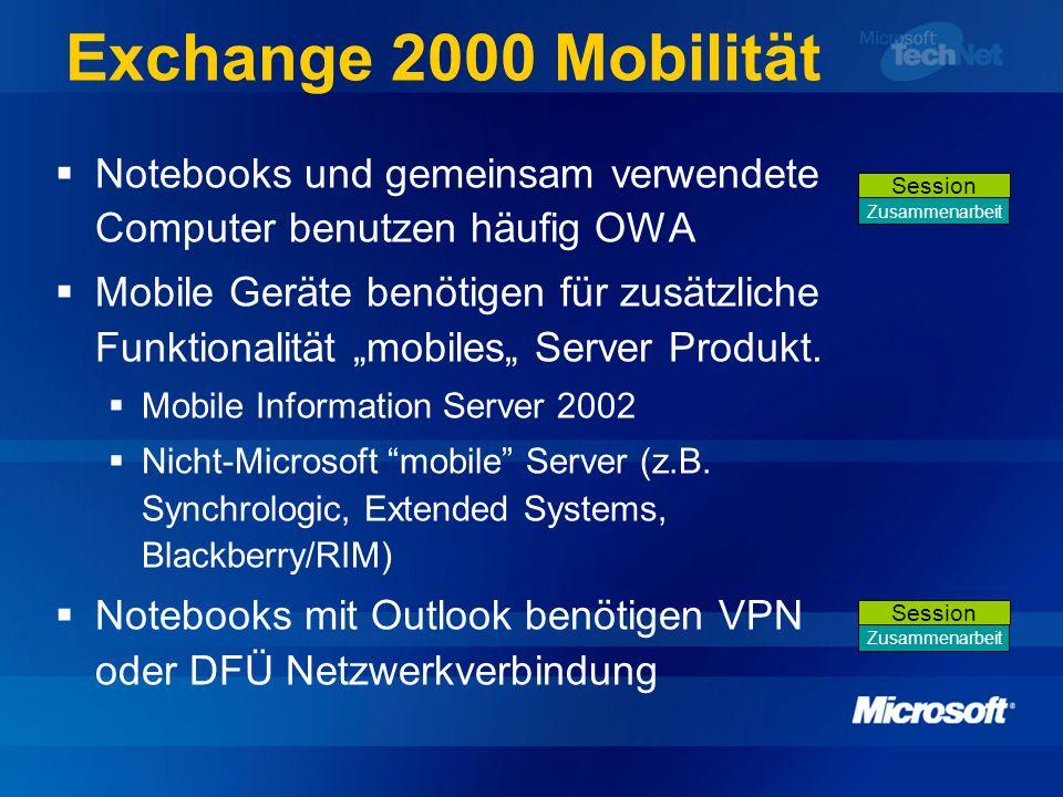 Exchange 2000 Mobilität Notebooks und gemeinsam verwendete Computer benutzen häufig OWA Mobile Geräte benötigen für zusätzliche Funktionalität mobiles