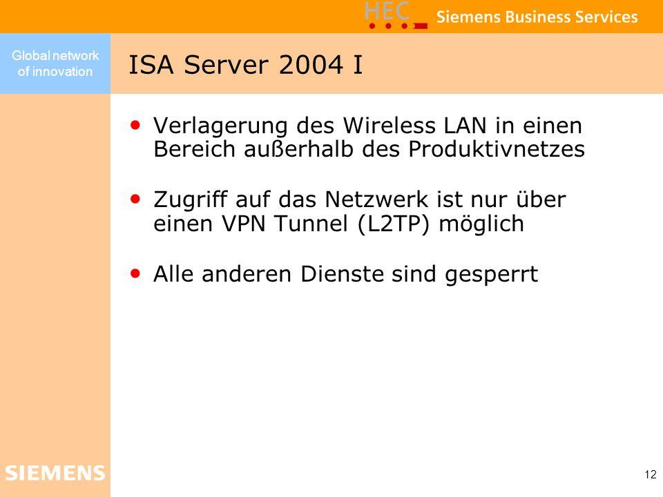 Global network of innovation 12 Verlagerung des Wireless LAN in einen Bereich außerhalb des Produktivnetzes Zugriff auf das Netzwerk ist nur über eine