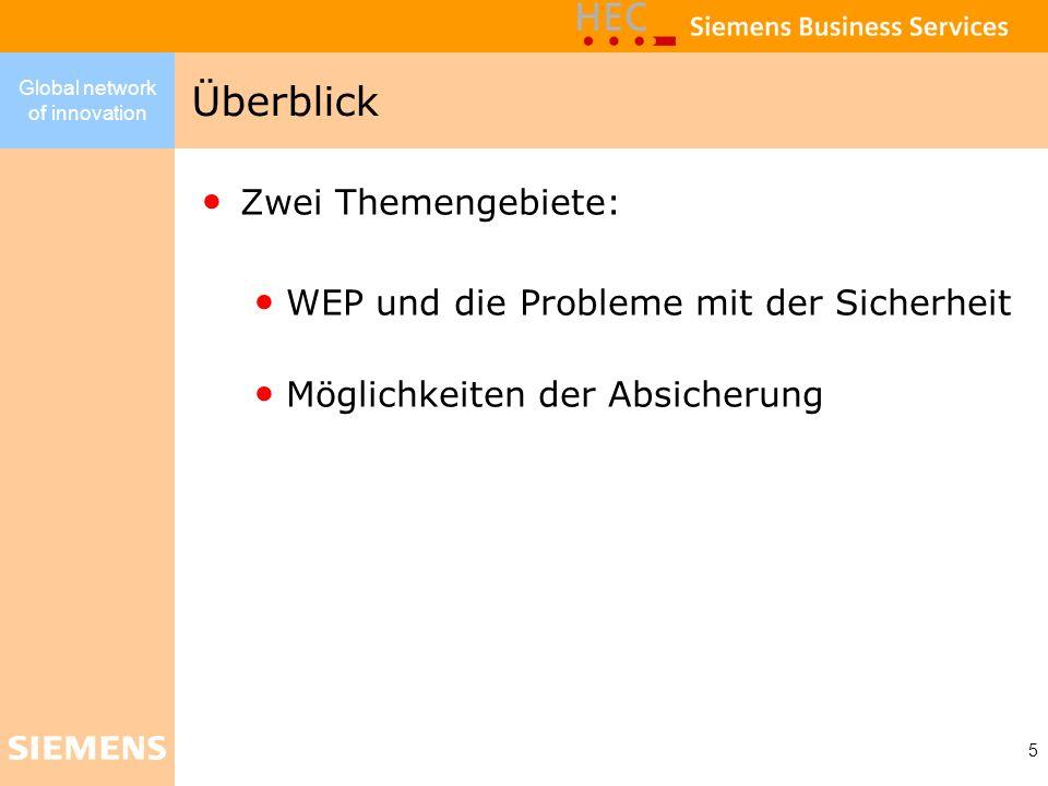 Global network of innovation 5 Zwei Themengebiete: WEP und die Probleme mit der Sicherheit Möglichkeiten der Absicherung Überblick