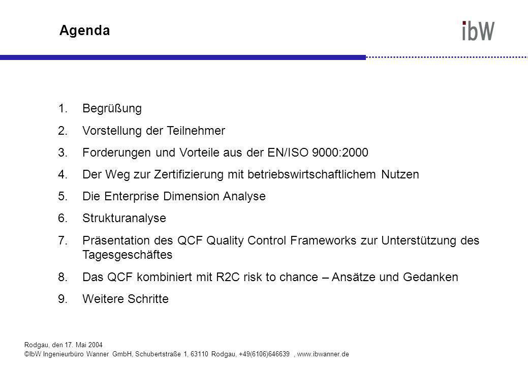 Rodgau, den 17. Mai 2004 ©IbW Ingenieurbüro Wanner GmbH, Schubertstraße 1, 63110 Rodgau, +49(6106)646639, www.ibwanner.de Agenda 1.Begrüßung 2.Vorstel