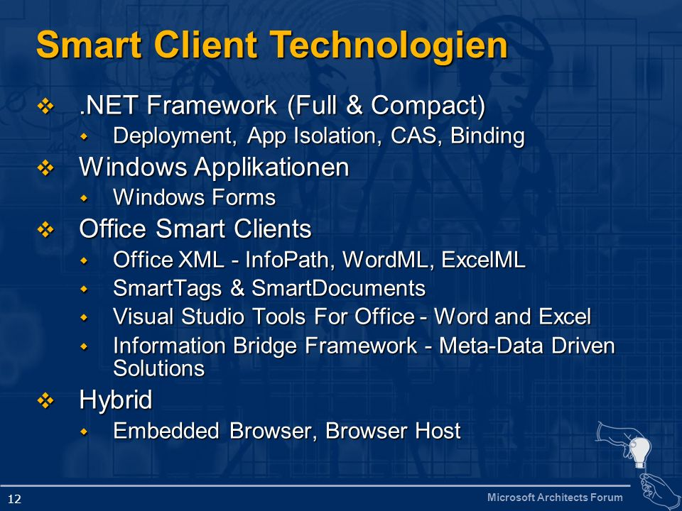 Microsoft Architects Forum 12 Smart Client Technologien.NET Framework (Full & Compact).NET Framework (Full & Compact) Deployment, App Isolation, CAS,