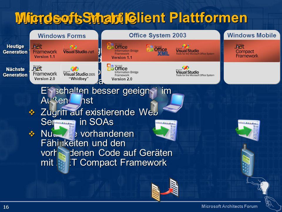 Microsoft Architects Forum 16 Windows Mobile Sofortiger Zugriff auf Daten überall und jederzeit Sofortiger Zugriff auf Daten überall und jederzeit Der