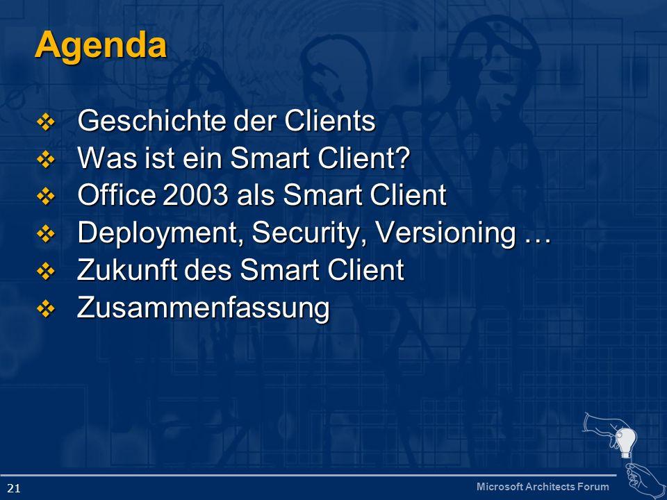 Microsoft Architects Forum 21 Agenda Geschichte der Clients Geschichte der Clients Was ist ein Smart Client? Was ist ein Smart Client? Office 2003 als