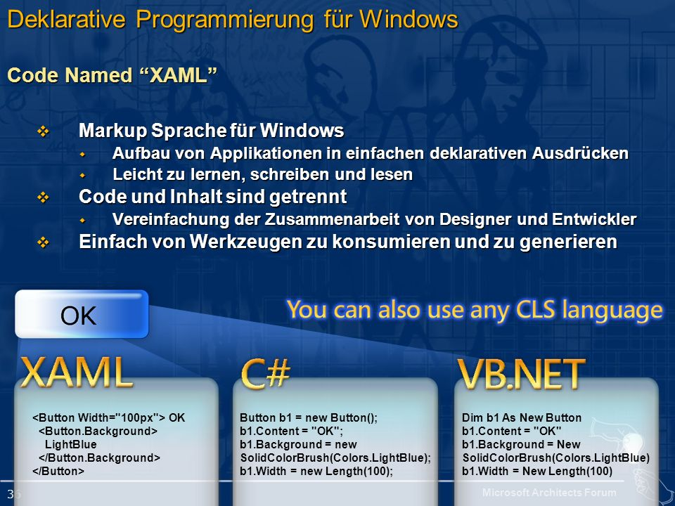 Microsoft Architects Forum 36 Deklarative Programmierung für Windows Code Named XAML Markup Sprache für Windows Markup Sprache für Windows Aufbau von