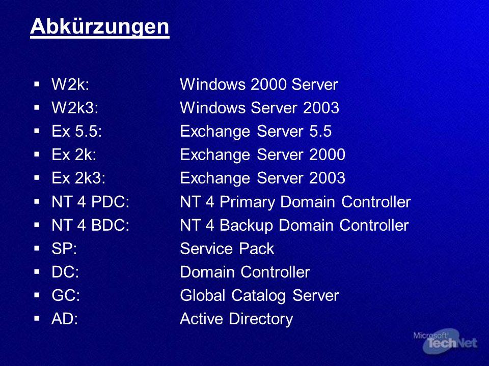 Szenario: 1 NT 4 PDC NT 4 PDCNT 4 BDCW2k3 DC
