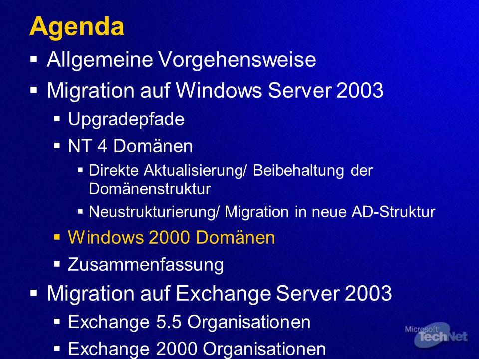 Verwendete Tools ADMT 2.0 – Active Directory Migration Tool Um Benutzer-/Computerobjekte zu kopieren, SID´s zu kontrollieren (SID History), Passwörter