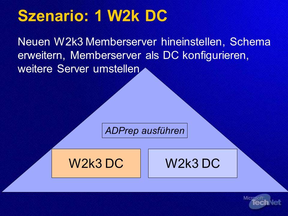 Windows 2000 Domäne migrieren Domänenstruktur wird i.d.R. übernommen Adprep /forestprep einmalig ausführen Adprep /domainprep pro Domäne ausführen Win