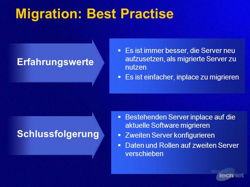 Agenda Allgemeine Vorgehensweise Migration auf Windows Server 2003 Upgradepfade NT 4 Domänen Direkte Aktualisierung/ Beibehaltung der Domänenstruktur
