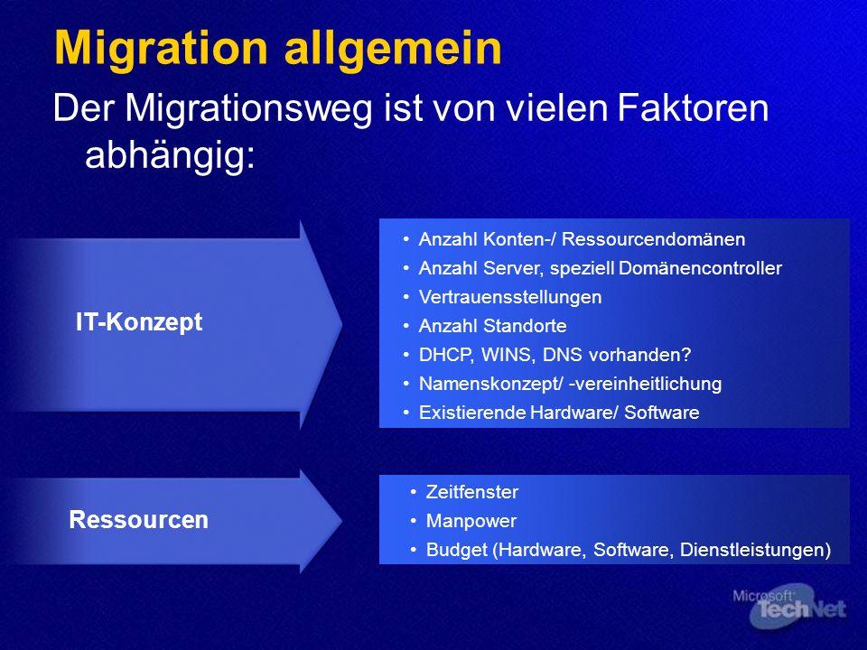 Migration allgemein Der Migrationsweg ist von vielen Faktoren abhängig: Ressourcen IT-Konzept Anzahl Konten-/ Ressourcendomänen Anzahl Server, speziell Domänencontroller Vertrauensstellungen Anzahl Standorte DHCP, WINS, DNS vorhanden.