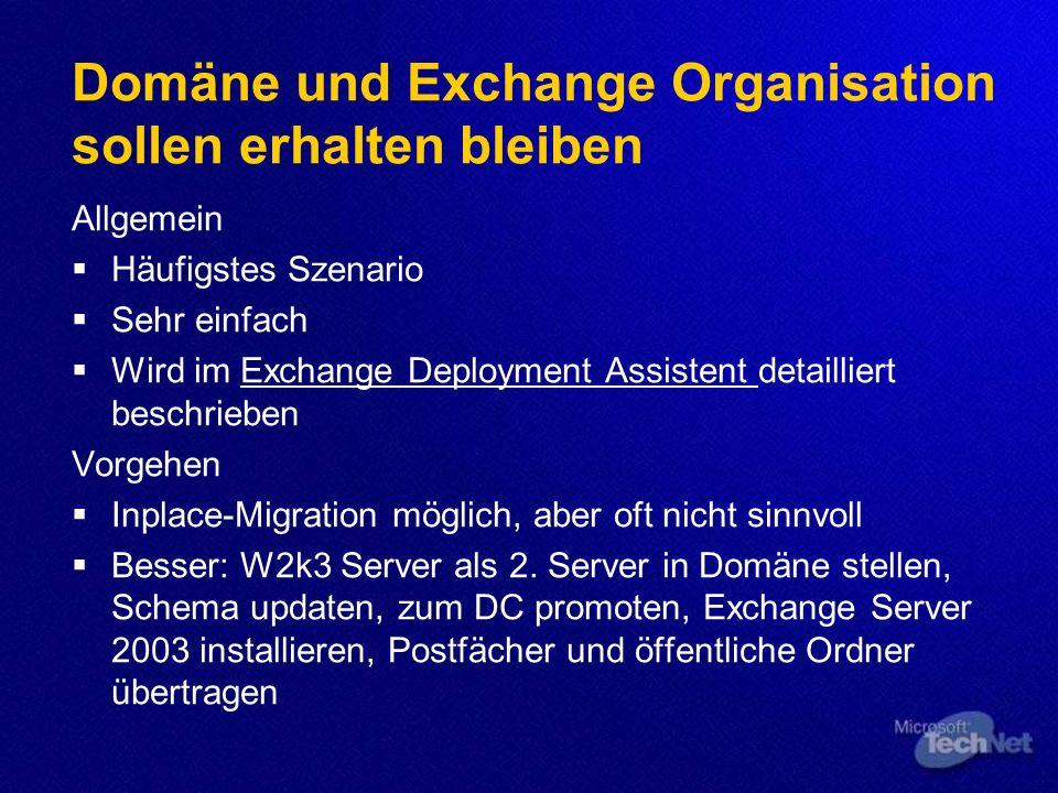 Agenda Allgemeine Vorgehensweise Migration auf Windows Server 2003 Migration auf Exchange Server 2003 Upgradepfade Exchange 5.5 Organisationen Exchang