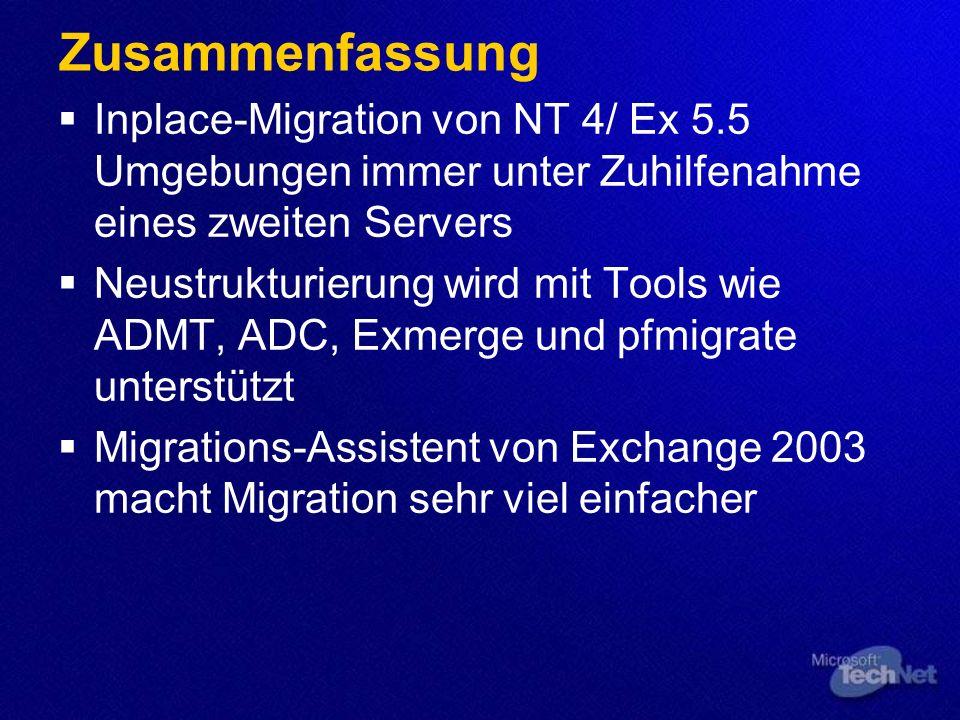 Szenario: 1 W2k DC, 1 Ex 2k Svr Best Practice: Ideal durch Hinzunahme eines zweiten Servers W2k DC Ex 2k W2k3 Member Ex 2k3 W2k3 DC Ex 2k3 W2k3 DC
