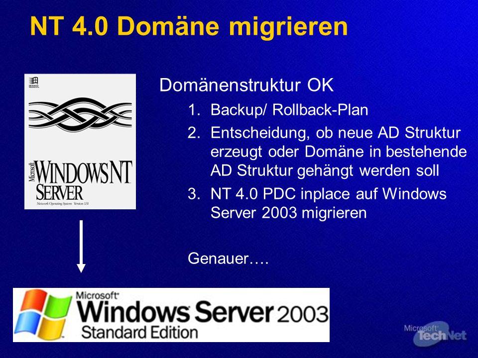 NT 4.0 Domäne migrieren Domänenstruktur OK Backup/ Rollback-Plan Entscheidung, ob neue AD Struktur erzeugt oder Domäne in bestehende AD Struktur gehängt werden soll NT 4.0 PDC inplace auf Windows Server 2003 migrieren Genauer….