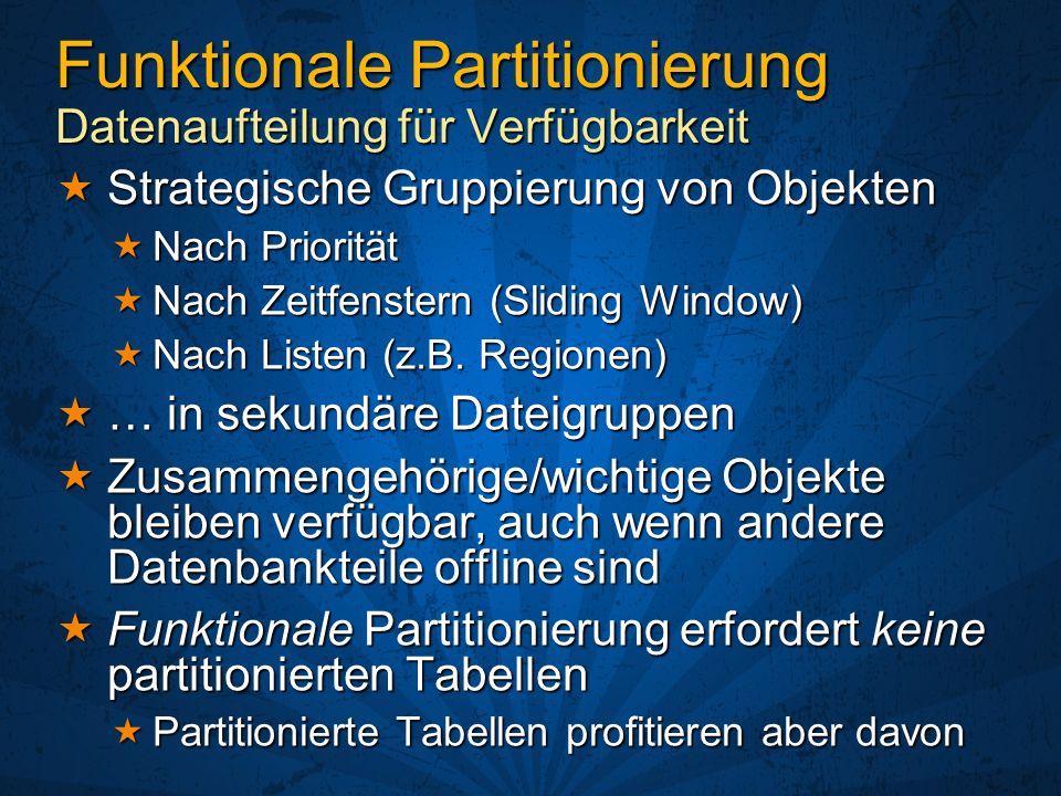 Tabellenpartitionierung 1996 1997 2006 MeineGroßeTabelle Eine einzige Datenbank Eine einzige Datenbank Partitionen einzeln verwaltet Partitionen einzeln verwaltet Online/Offline Online/Offline ReadOnly/ReadWrite ReadOnly/ReadWrite Restore (Online!) Restore (Online!) … Partitionen in sekundären Dateigruppen