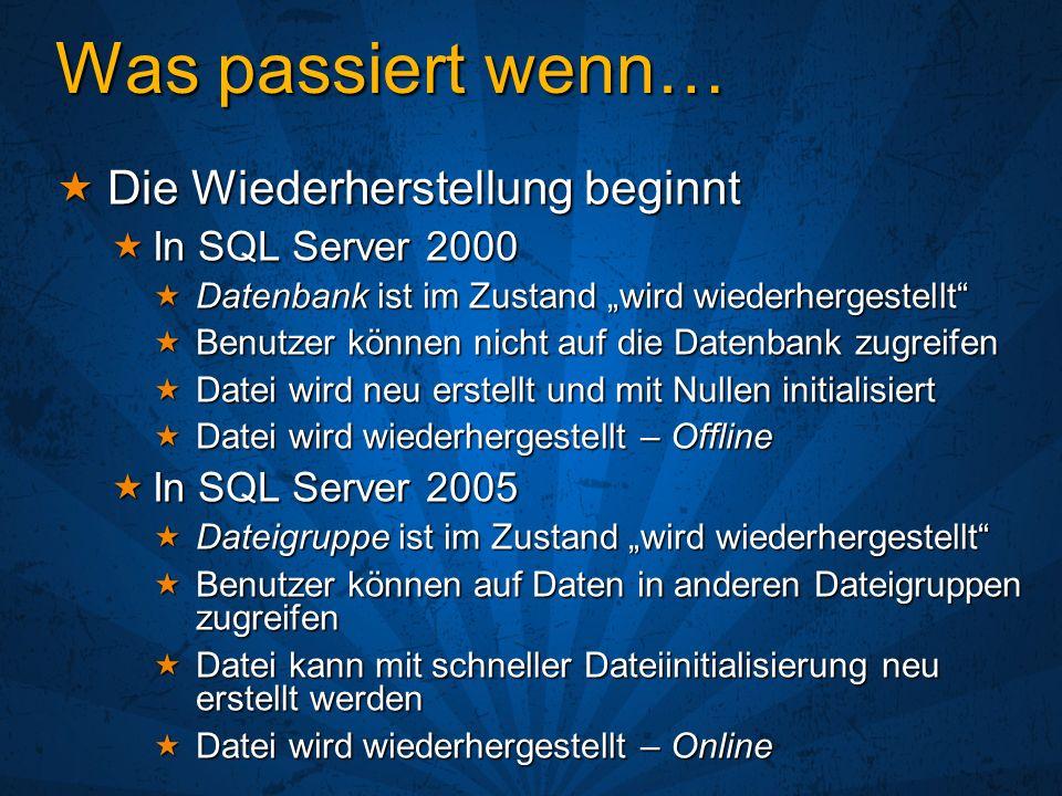 Datenbankspiegelung Redundanz auf Datenbankebene Kommende Hochverfügbarkeitstechnologie Kommende Hochverfügbarkeitstechnologie Verfügbar für Test und Prototyping in SQL Server 2005 RTM Verfügbar für Test und Prototyping in SQL Server 2005 RTM Zertifiziert für Produktionsbetrieb in der ersten Hälfte 2006 Zertifiziert für Produktionsbetrieb in der ersten Hälfte 2006 Drei Konfigurationen: Drei Konfigurationen: Hohe Verfügbarkeit – Synchron mit Witness Hohe Verfügbarkeit – Synchron mit Witness Hoher Schutz – Synchron ohne Witness Hoher Schutz – Synchron ohne Witness Hohe Performance – Asynchron Hohe Performance – Asynchron
