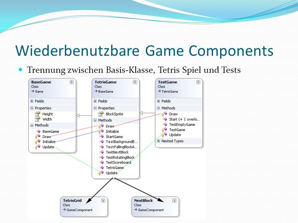 Wiederbenutzbare Game Components Beispiele für Game Components Frame Counter Screenshot Grabber Teile eines Spiels (siehe rechts) Oder sogar Teile einer Render- Engine um z.B.