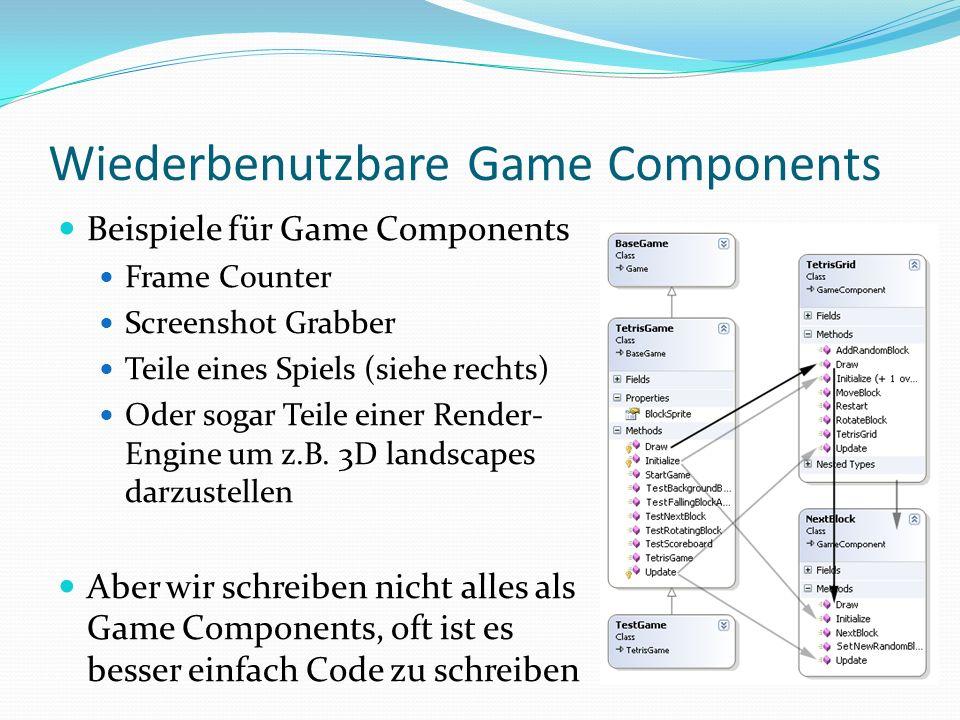 Wiederbenutzbare Game Components GameComponent hat Initialize und Update Methoden Kann benutzt werden für Updates und Spiellogik Oder um Input Daten zu handeln Oder wenn Du das Rendern selbst machen willst DrawableGameComponent hat eine Draw Method Leichter zu benutzen, wenn man was rendern will Gut für 2D Grafik, Draw wird automatisch aufgerufen Aber kann auch zum falschen Zeitpunkt rendern