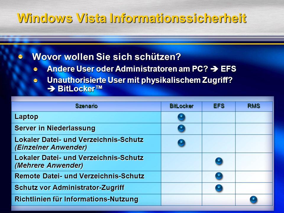 Windows Vista Informationssicherheit Wovor wollen Sie sich schützen.