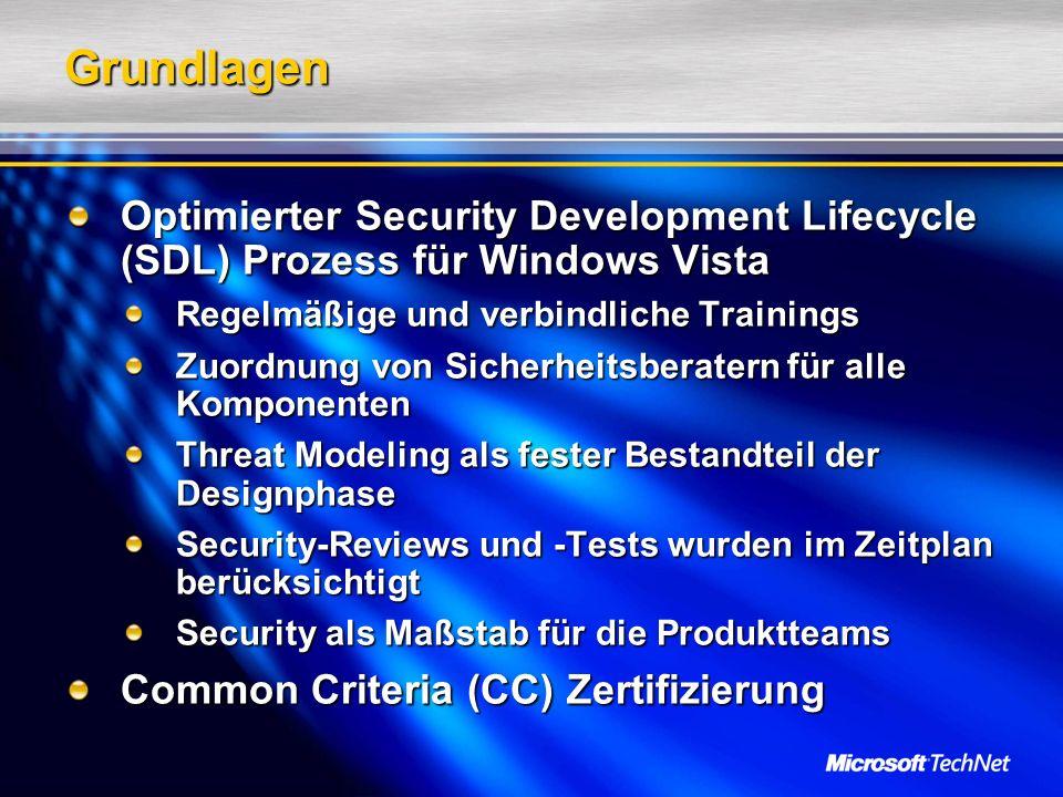 Grundlagen Optimierter Security Development Lifecycle (SDL) Prozess für Windows Vista Regelmäßige und verbindliche Trainings Zuordnung von Sicherheitsberatern für alle Komponenten Threat Modeling als fester Bestandteil der Designphase Security-Reviews und -Tests wurden im Zeitplan berücksichtigt Security als Maßstab für die Produktteams Common Criteria (CC) Zertifizierung