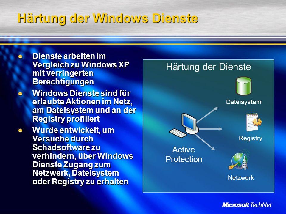 Härtung der Dienste Härtung der Windows Dienste Dienste arbeiten im Vergleich zu Windows XP mit verringerten Berechtigungen Windows Dienste sind für erlaubte Aktionen im Netz, am Dateisystem und an der Registry profiliert Wurde entwickelt, um Versuche durch Schadsoftware zu verhindern, über Windows Dienste Zugang zum Netzwerk, Dateisystem oder Registry zu erhalten Active Protection Dateisystem Registry Netzwerk