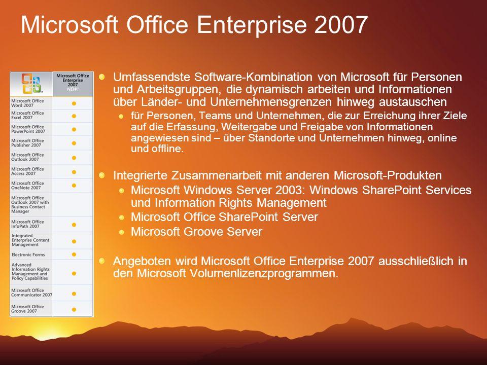 Microsoft Office Enterprise 2007 Umfassendste Software-Kombination von Microsoft für Personen und Arbeitsgruppen, die dynamisch arbeiten und Informationen über Länder- und Unternehmensgrenzen hinweg austauschen für Personen, Teams und Unternehmen, die zur Erreichung ihrer Ziele auf die Erfassung, Weitergabe und Freigabe von Informationen angewiesen sind – über Standorte und Unternehmen hinweg, online und offline.