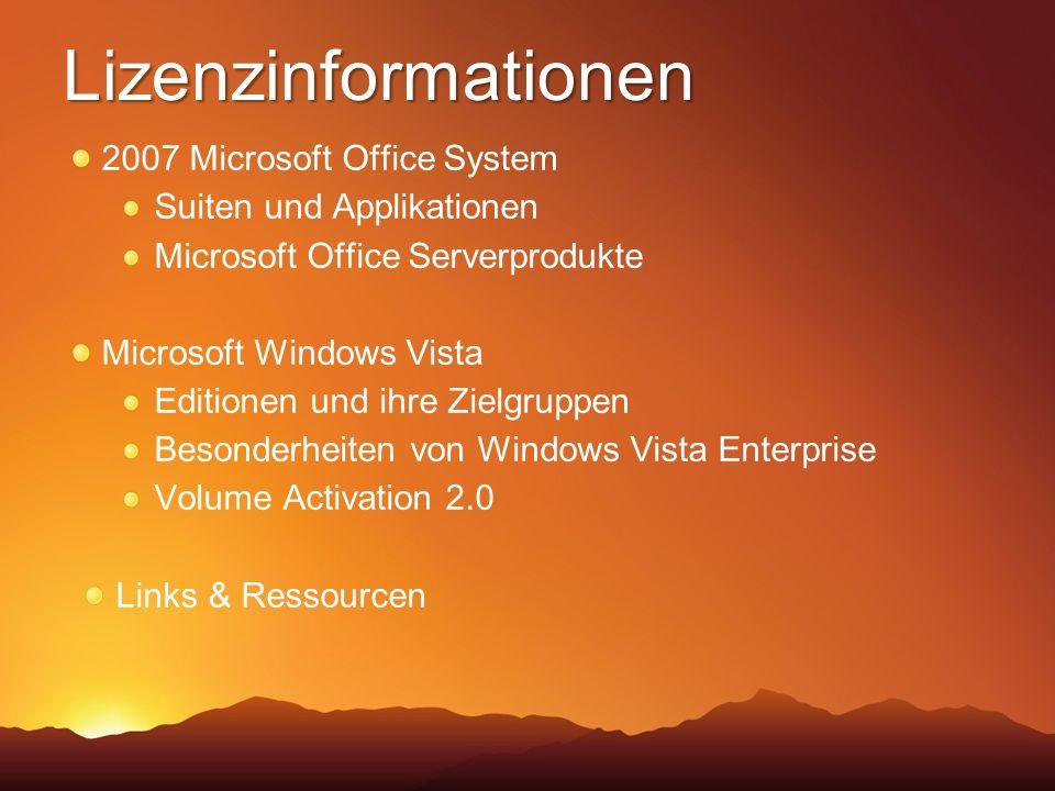 OEM, System Builder, Einzelhandelspaket (FPP) Volumenlizenz- programme Über Software Assurance / Enterprise Agreement Microsoft Windows Vista in den Vertriebskanälen
