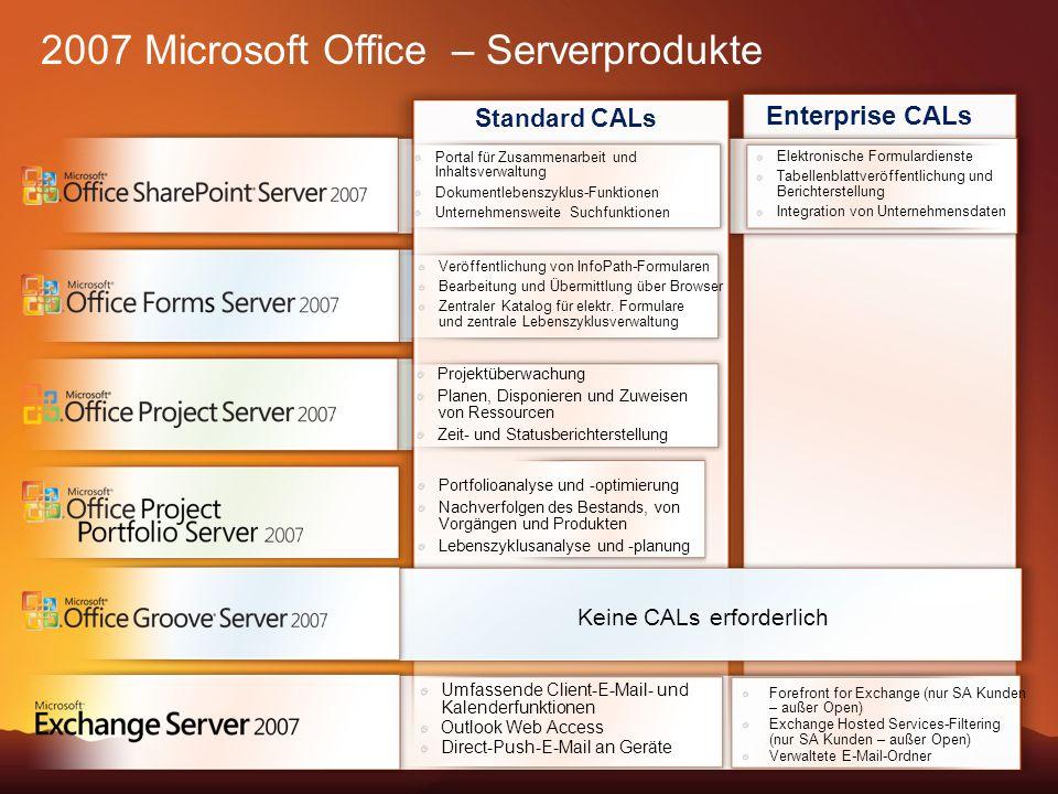 2007 Microsoft Office – Serverprodukte Portal für Zusammenarbeit und Inhaltsverwaltung Dokumentlebenszyklus-Funktionen Unternehmensweite Suchfunktionen Veröffentlichung von InfoPath-Formularen Bearbeitung und Übermittlung über Browser Zentraler Katalog für elektr.