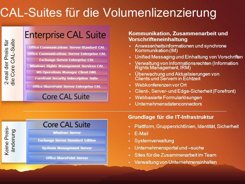 CAL-Suites für die Volumenlizenzierung Kommunikation, Zusammenarbeit und Vorschrifteneinhaltung Anwesenheitsinformationen und synchrone Kommunikation