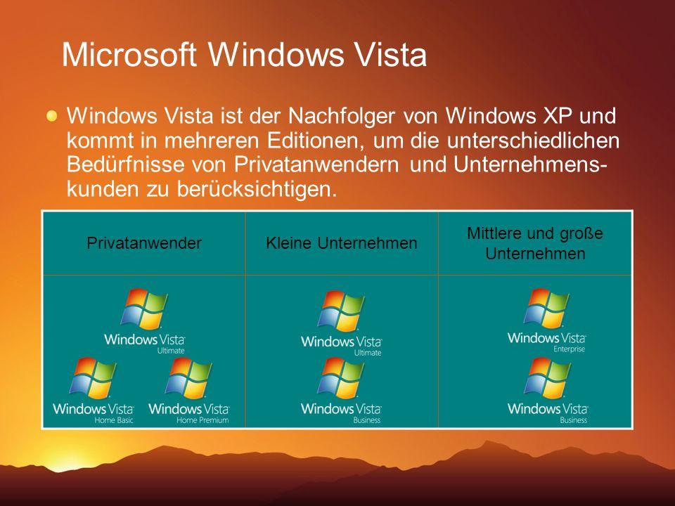 PrivatanwenderKleine Unternehmen Mittlere und große Unternehmen Microsoft Windows Vista Windows Vista ist der Nachfolger von Windows XP und kommt in mehreren Editionen, um die unterschiedlichen Bedürfnisse von Privatanwendern und Unternehmens- kunden zu berücksichtigen.