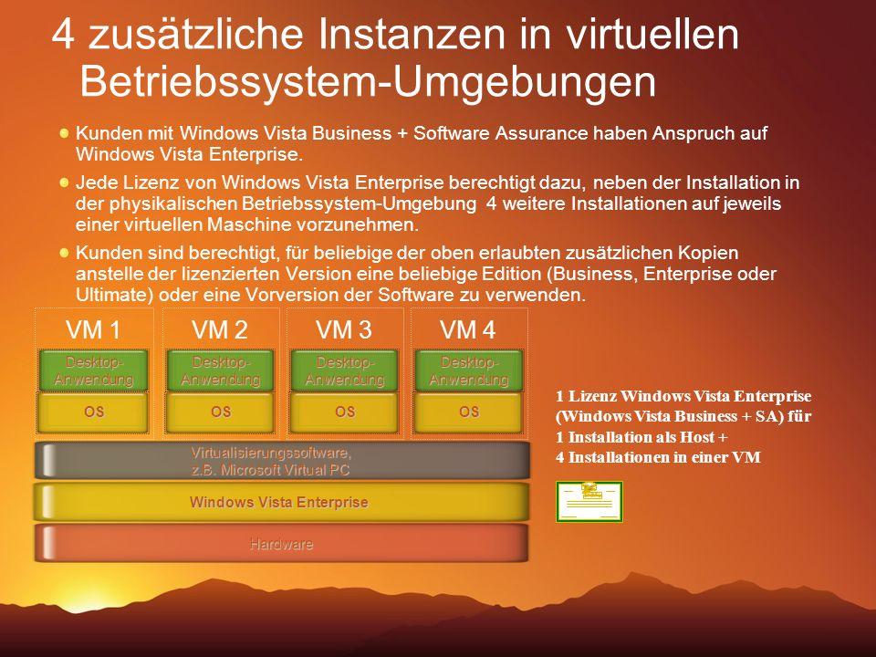 4 zusätzliche Instanzen in virtuellen Betriebssystem-Umgebungen Virtualisierungssoftware, z.B. Microsoft Virtual PC Windows Vista Enterprise Hardware