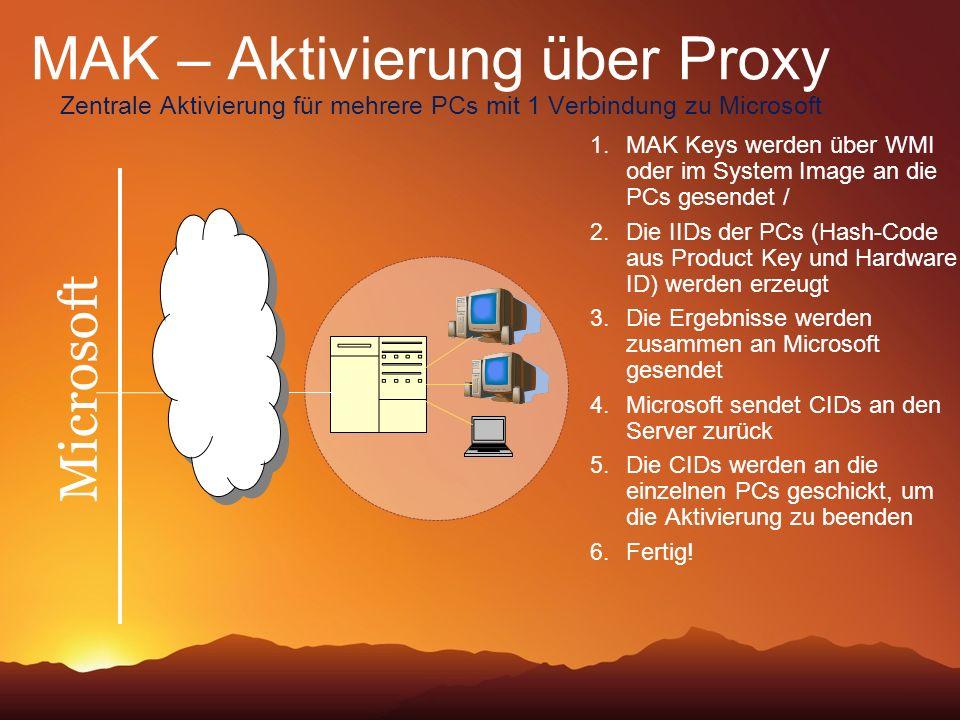 MAK – Aktivierung über Proxy Zentrale Aktivierung für mehrere PCs mit 1 Verbindung zu Microsoft Microsoft 1. MAK Keys werden über WMI oder im System I