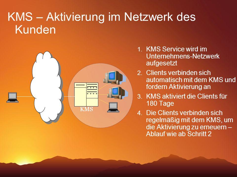 KMS – Aktivierung im Netzwerk des Kunden 1. KMS Service wird im Unternehmens-Netzwerk aufgesetzt 2. Clients verbinden sich automatisch mit dem KMS und
