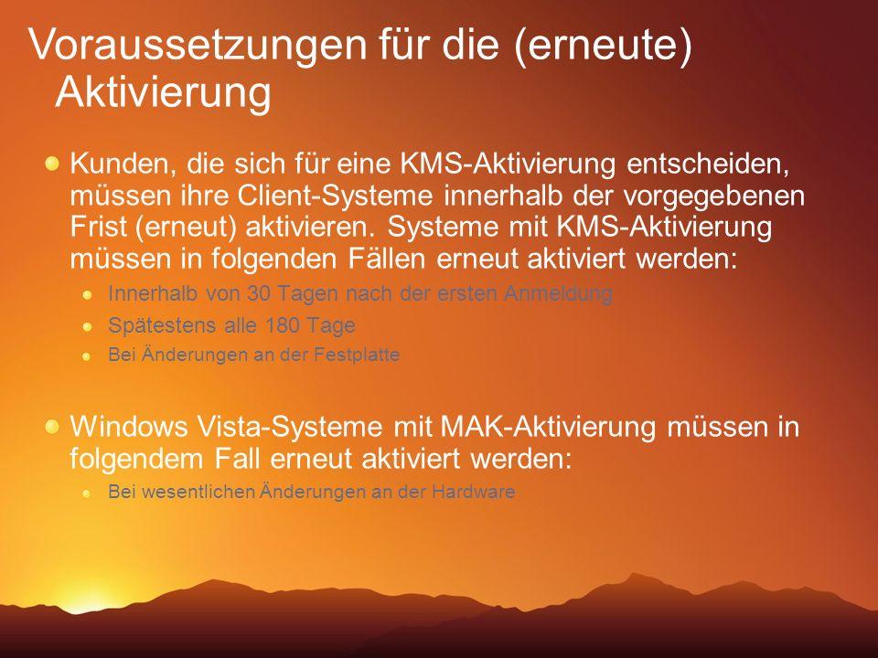 Kunden, die sich für eine KMS-Aktivierung entscheiden, müssen ihre Client-Systeme innerhalb der vorgegebenen Frist (erneut) aktivieren. Systeme mit KM