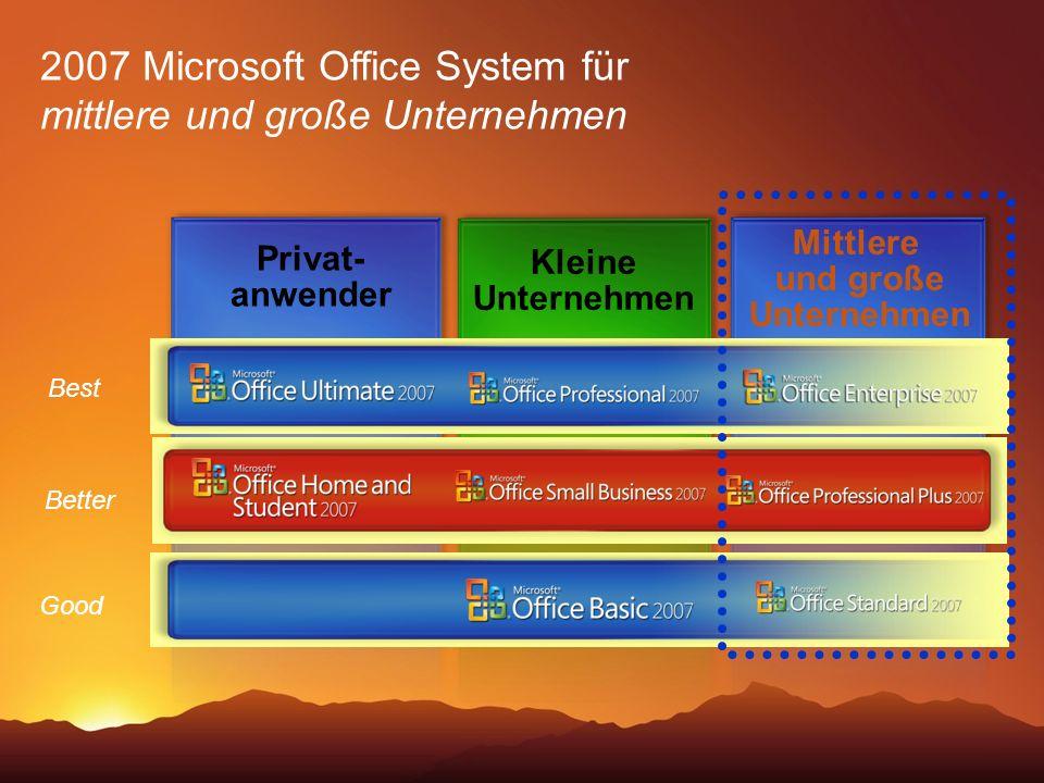 Good Better Best Kleine Unternehmen Mittlere und große Unternehmen 2007 Microsoft Office System für mittlere und große Unternehmen Privat- anwender