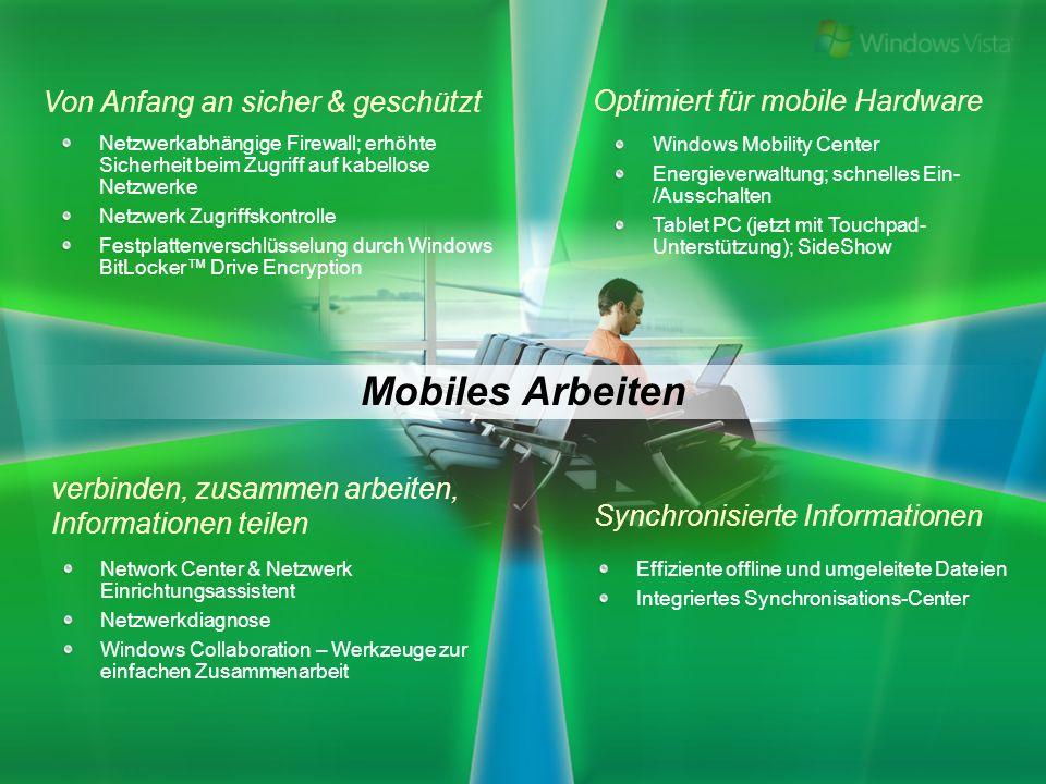 Windows Mobility Center Energieverwaltung; schnelles Ein- /Ausschalten Tablet PC (jetzt mit Touchpad- Unterstützung); SideShow Mobiles Arbeiten Effizi