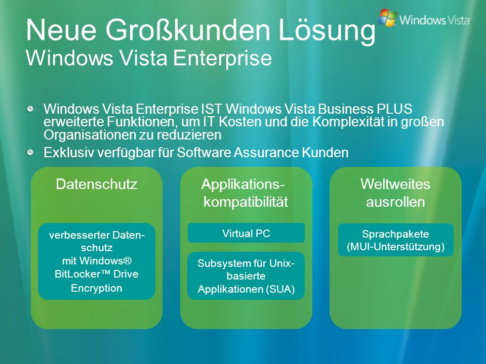 Neue Großkunden Lösung Windows Vista Enterprise Windows Vista Enterprise IST Windows Vista Business PLUS erweiterte Funktionen, um IT Kosten und die K
