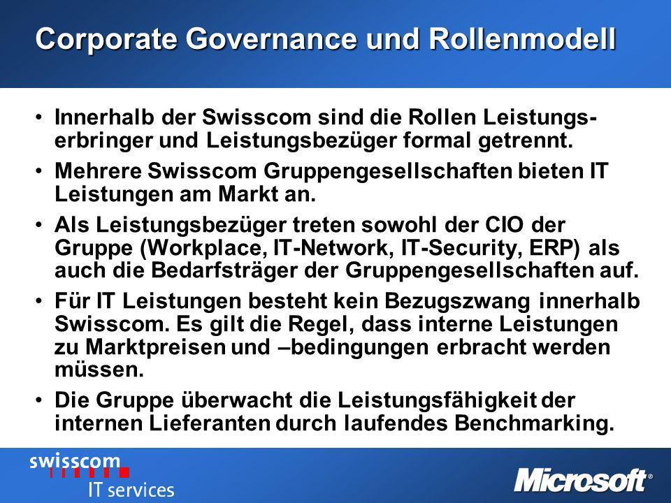 Corporate Governance und Rollenmodell Innerhalb der Swisscom sind die Rollen Leistungs- erbringer und Leistungsbezüger formal getrennt.Innerhalb der S