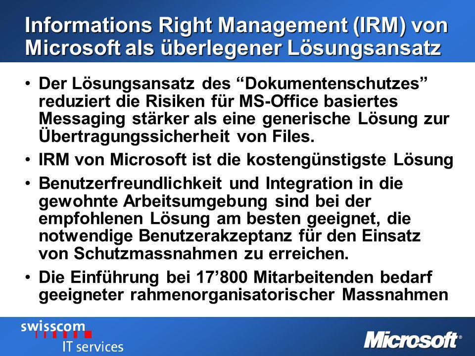 Informations Right Management (IRM) von Microsoft als überlegener Lösungsansatz Der Lösungsansatz des Dokumentenschutzes reduziert die Risiken für MS-