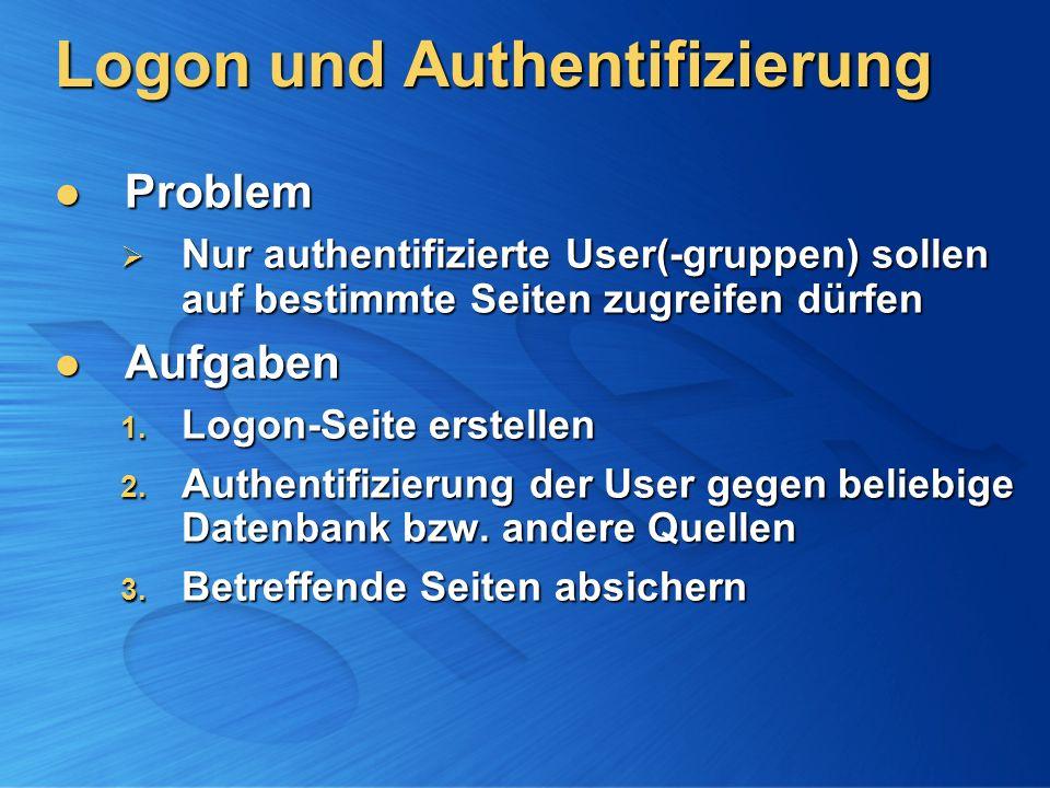 Logon und Authentifizierung Problem Problem Nur authentifizierte User(-gruppen) sollen auf bestimmte Seiten zugreifen dürfen Nur authentifizierte User