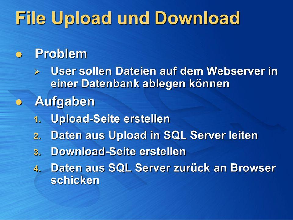 File Upload und Download Problem Problem User sollen Dateien auf dem Webserver in einer Datenbank ablegen können User sollen Dateien auf dem Webserver